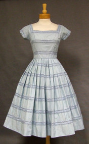 Charming Blue Cotton Jerry Gilden 1950's Day Dress
