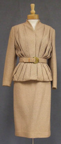 Chic Lilli Ann Camel Colored Suit w/ Wide Belt