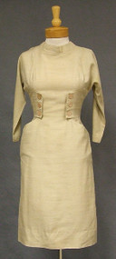 Early 1960's Beige Silk Wiggle Dress