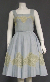 GORGEOUS Pale Blue Linen 1950's Summer Dress w/ Lace Appliques