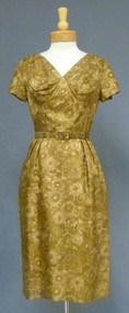 Sepia Floral Silk 1960's Day Dress & Jacket
