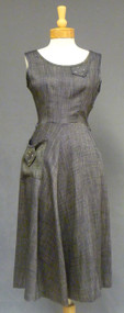 Rhinestone Trimmed Grey Day Dress