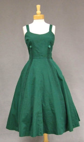 Hunter Green Cotton 1950's Summer Dress w/ Pleated Insets