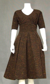 Gorgeous Chocolate Wool 1950's Princess Dress w/ Colorful Flecks