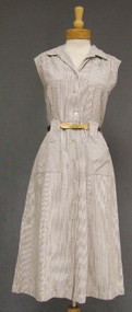 Brown & White N/OS Seersucker 1950's Golf Dress XL