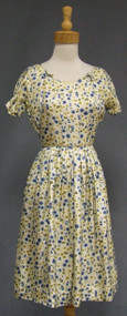 Pretty Printed Silk 1960's Day Dress w/ Cutout Neckline