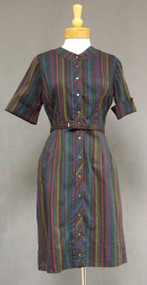 Colorfully Striped Cotton 1960's Day Dress