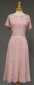 Embroidered Lavender Linen Day Dress w/ Cut Outs XL