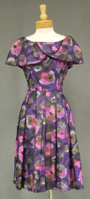 Vibrant Gigi Young Purple Floral Silk 1960's Dress