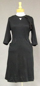 Nice Black Wool 1960's Dress w/ Satin Trim