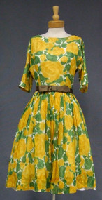 Sunny Floral Voile 1960's Dress w/ Satin Belt