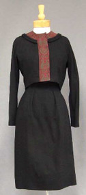 Oleg Cassini Wool Crepe & Printed Silk 1960's Dress & Jacket