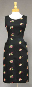 Vibrant Black Rayon 1960's Dress w/ Embroidered Flowers