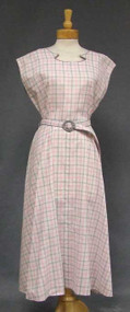 Pink & Grey Plaid 1950's Day Dress w/ Deco Buckle  XL
