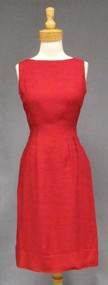 FAB Red Silk Sleeveless Vintage Dress & Cropped Jacket