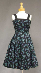 Printed Pique 1950's Dress w/ Faille Trim & Matching Jacket