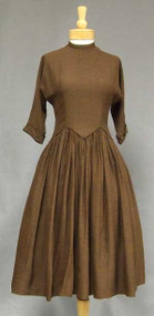 Chocolate Wool 1950's Day Dress w/ Elongated Waist