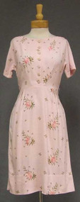Pretty Pink Rayon 1960's Dress w/ Floral Embroidery