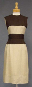 Chocolate & Beige Silk 1960's Day Dress w/ Jacket