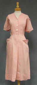 Pink Linen 1950's Day Dress w/ MOP Buttons 45