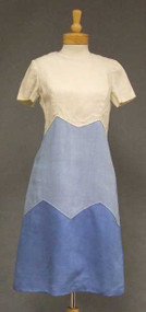 Tri Toned Blue Burlap 1960's Shift Dress