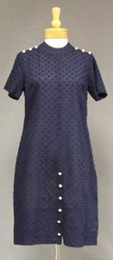 Cute Button Trimmed Blue Cotton 1960's Shift w/ Fuzzy Dots
