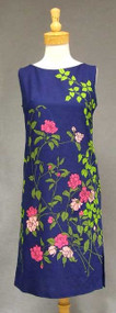 Fun Rose Printed Blue Cotton 1960's Shift Dress