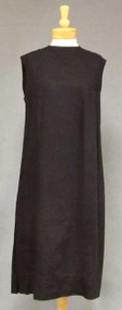 Classic Black Linen 1960's Shift Dress 42