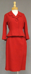 Chic Red Wool 1960's Suit w/ Large Button