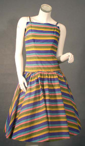 Fetching Striped Cotton 1950's Sun Dress