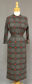 Wonderful Grey Wool 1950's Wiggle Dress w/ Red Dots