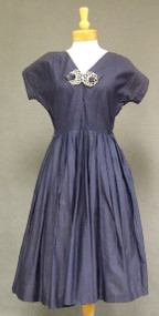 Navy Cotton 1950's Day Dress w/ Pintucked Bodice