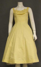 Sunny Yellow Cotton 1950's Party Dress w/ Rhinestone Appliqued Bodice