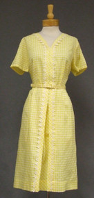 Yellow Checked 1960's Day Dress w/ Crocheted Trim UNWORN