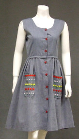 Blue Chambray Vintage Dress w/ Floral Embroidered Pockets