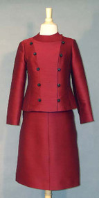 Stylish Jacques Heim Burgundy 1960's Suit