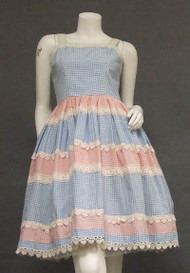 Pink & Blue Gingham Sun Dress w/ Lace Trim