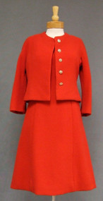 Pauline Trigere Tomato Red Wool Sleeveless Dress & Jacket