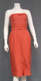 Wonderful Coral Strapless Wiggle Dress w/ Matching Cropped Top