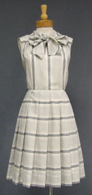 Striped 1960's Dress w/ Tie Collar