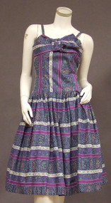 Blue & Purple Printed Cotton 1950's Sun Dress w/ Bow Bust
