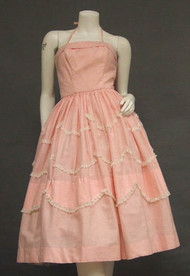 Feminine Pink Gingham 1950's Halter Dress w/ Lace Trim