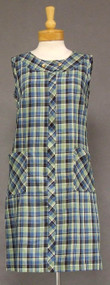 Plaid Cotton 1960's House Dress w/ Patch Pockets