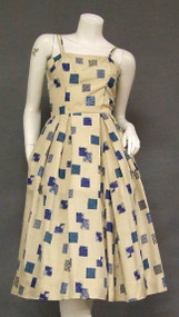 Khaki Rayon Sun Dress w/ Blue Squares
