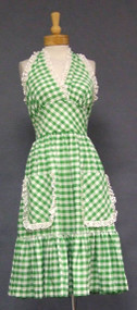 TOO CUTE Green Check 1970's Halter Dress w/ Eyelet Trim