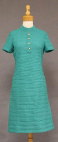 Teal Ribbed Knit 1960's Dress