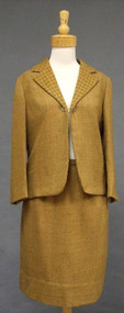 Caramel Wool 1960's Suit w/ Houndstooth Trim