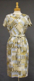 1960's Acetate Day Dress w/ Fringed Belt