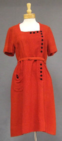 Brick Red Textured Rayon 1960's Dress w/ Black Velvet Buttons