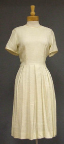 Slubbed Cream Rayon 1960's Day Dress w/ Pleated Skirt